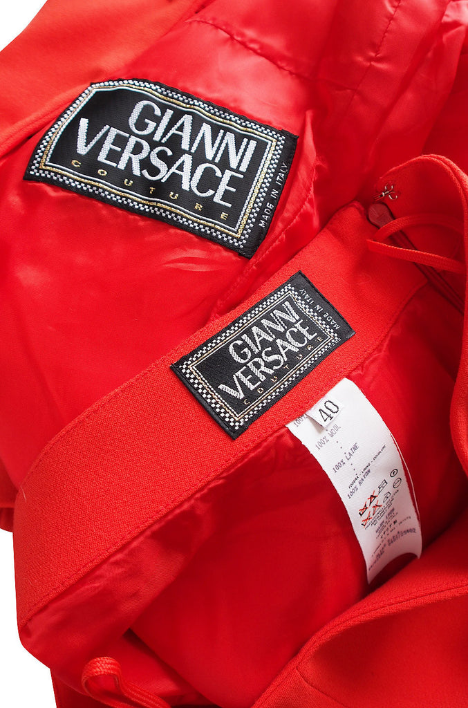 1990s Gianni Versace Couture Red Suit