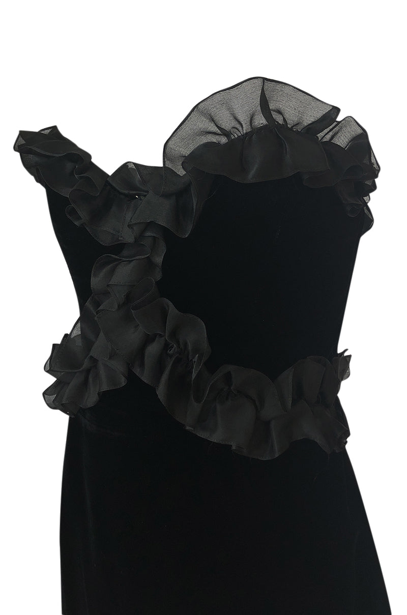 Fall 1987 Yves Saint Laurent Strapless Velvet & Silk Organza Ruffled Dress
