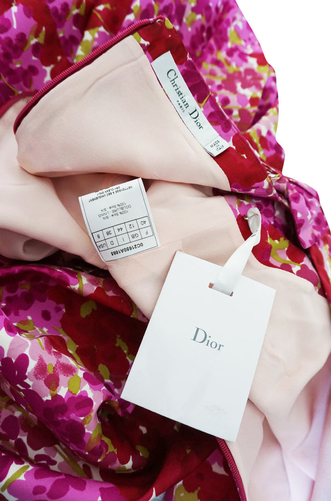 Recent NWT Christian Dior Pink Floral Silk Dress