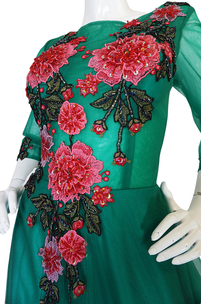 Vintage Trained Emerald Green Lace Tulle Gown w Floral Applique