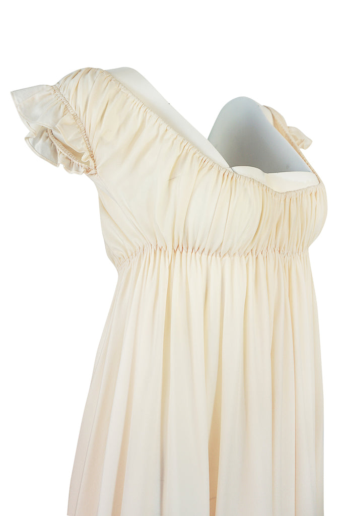 1970s Unlabelled John Kloss Ivory Nylon Low Cut Dress