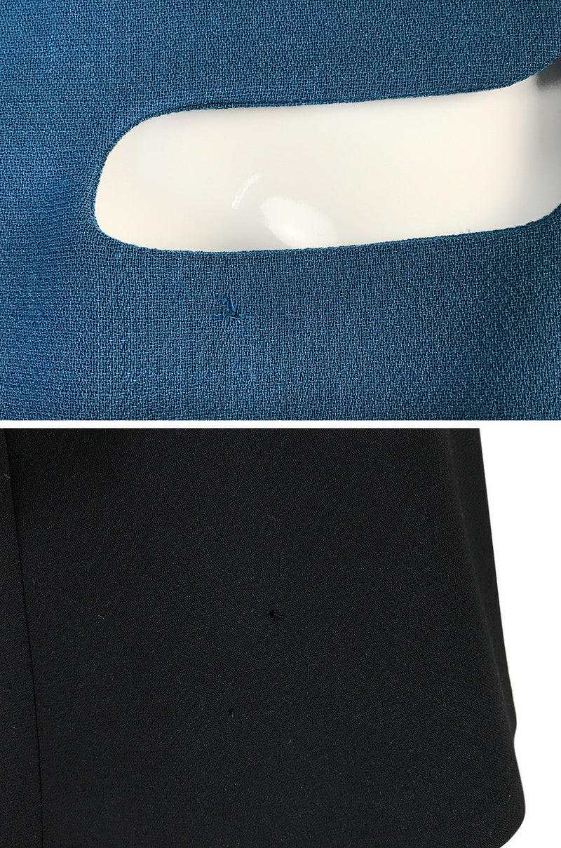 c.1967 Pierre Cardin 'Cosmocorps' Collection Cut Out Blue Neckline on Black Wool Dress