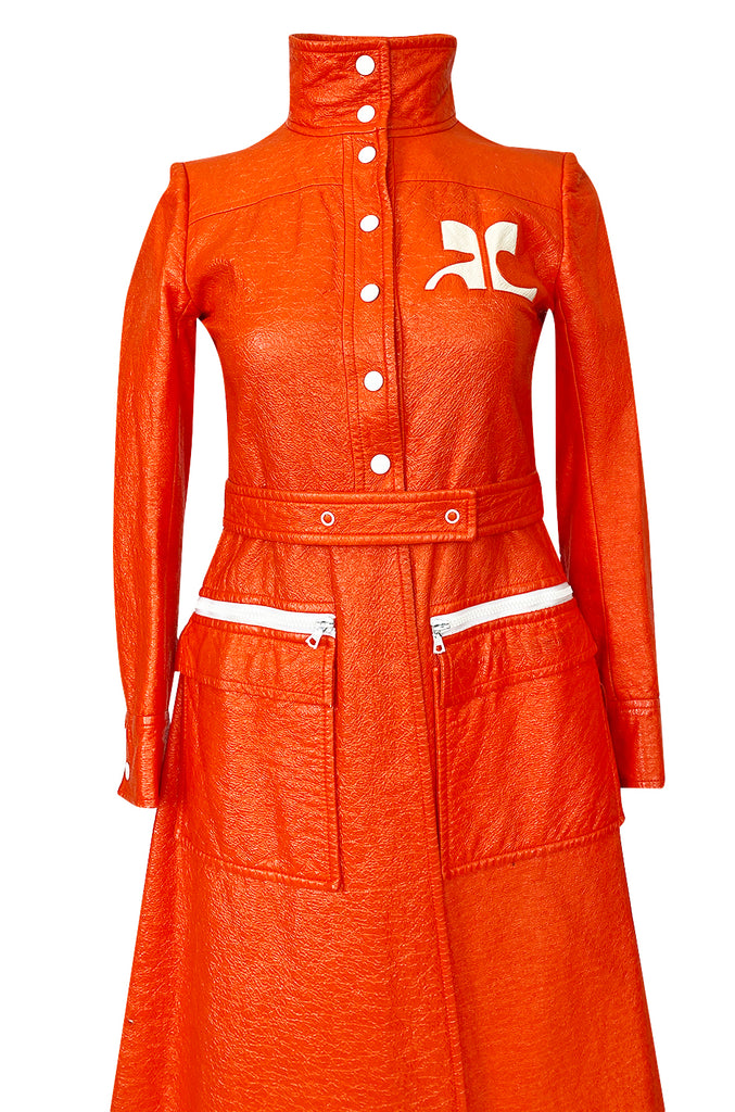 Iconic 1960s Andres Courreges Bright Orange  & White Vinyl Coat or Dress