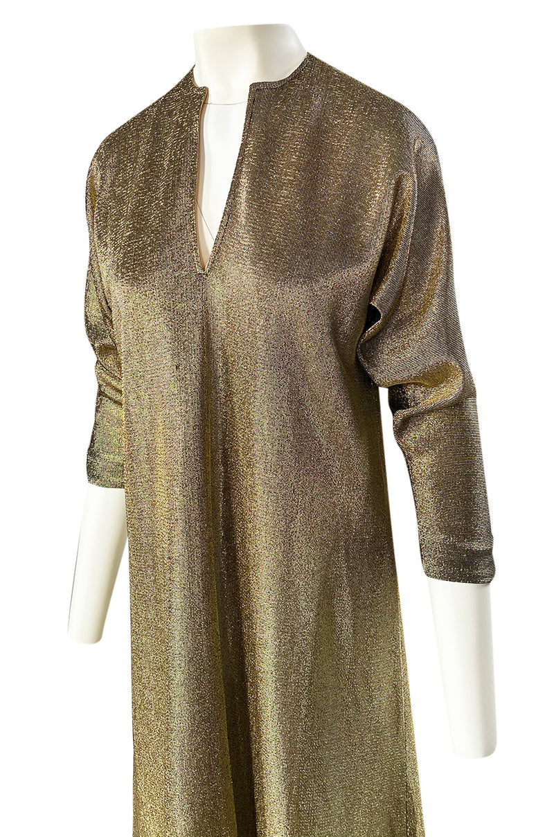 Iconic 1970s Halston Long Metallic Gold Lame Lurex Caftan Dress