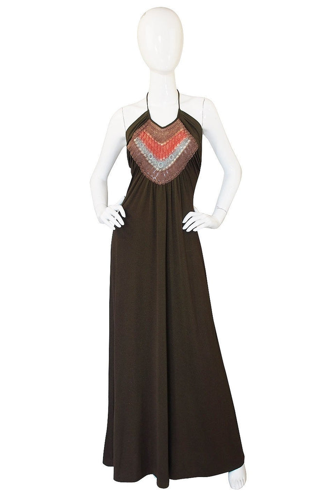 1970s Joy Stevens Embroidered Brown Jersey Halter Dress