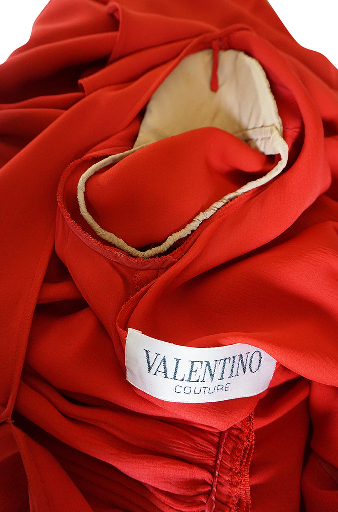 1980s Valentino Haute Couture Plunging Red Silk Dress