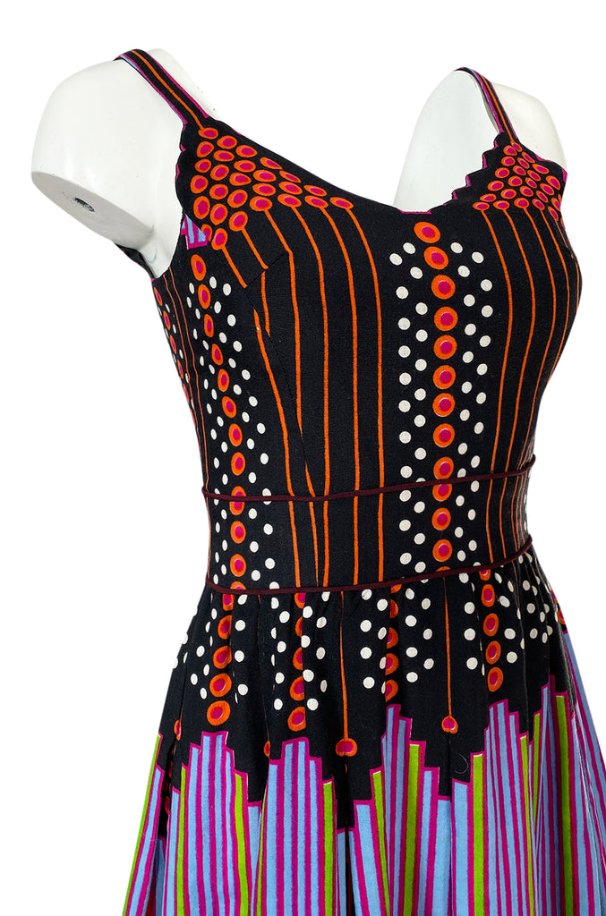 c.1974 Lanvin by Jules-Francois Crahay Pretty Printed Dress w Scarf