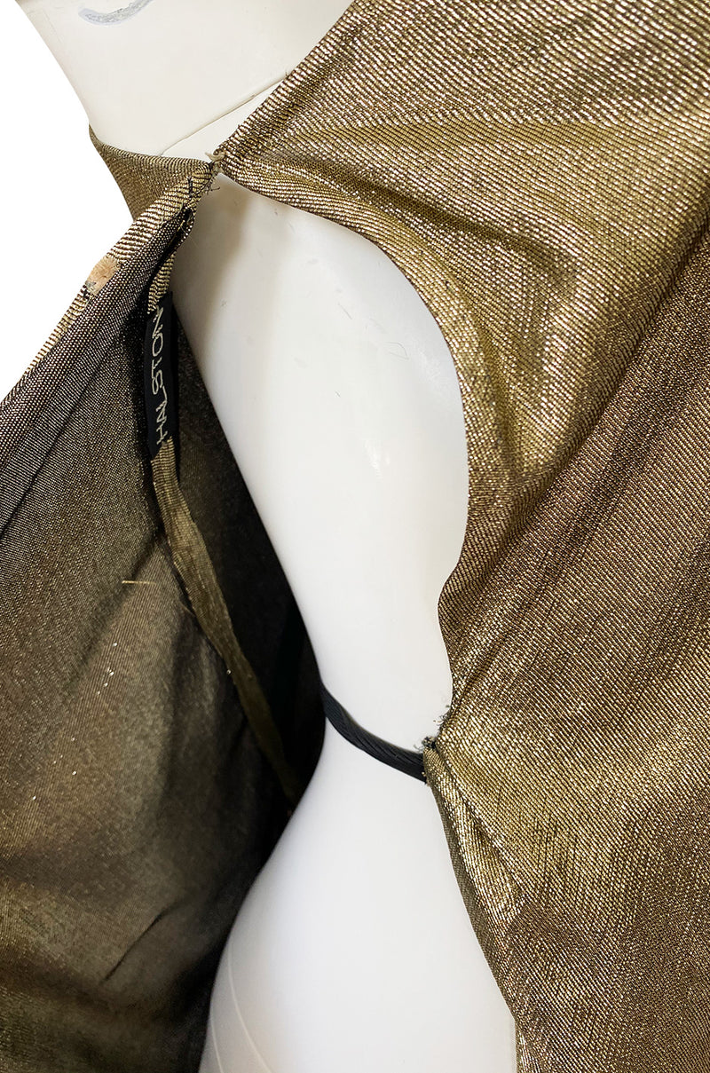 Important 1976 Halston Couture One Shoulder Gold Metallic Lame Sarong Dress