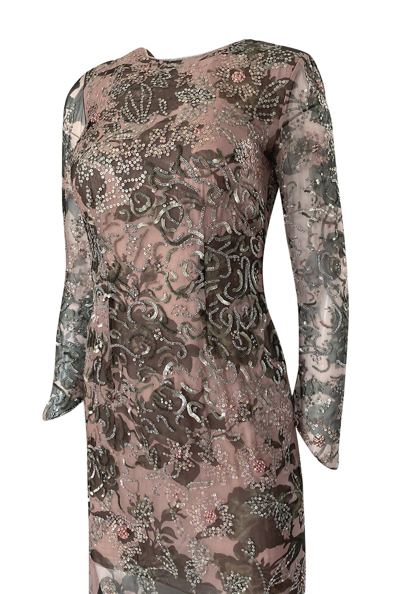 1980s Oscar de la Renta Sequin Detailed Trained Floral Silk Chiffon Dress