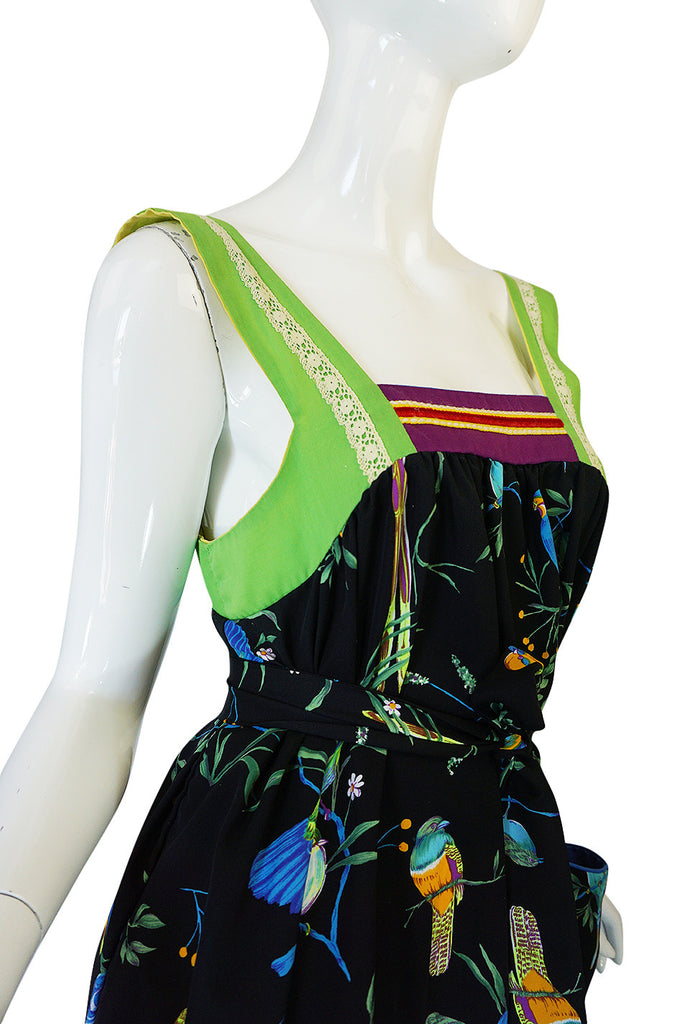 1970s Giorgio Sant'Angelo Colorful Bird Print Smock Dress
