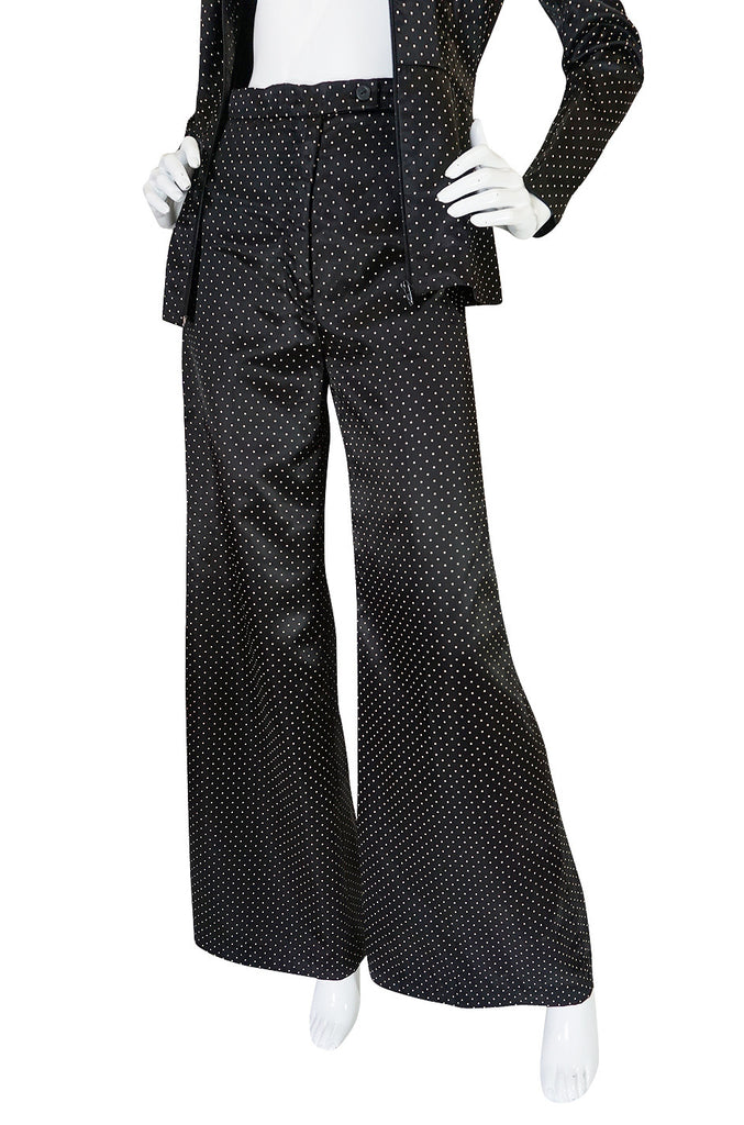 1970s Fabulous Dotted Slippery Satin Flared Pantsuit
