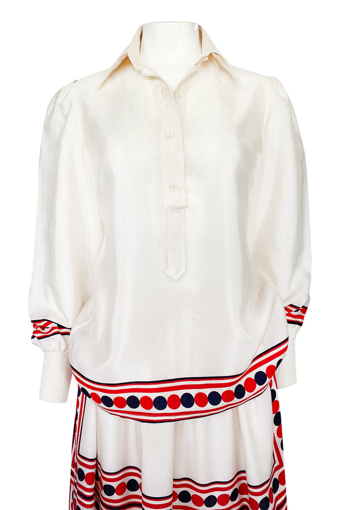 1960s Valentino Two Piece Ivory and Red Striped Silk Skirt & Top Set