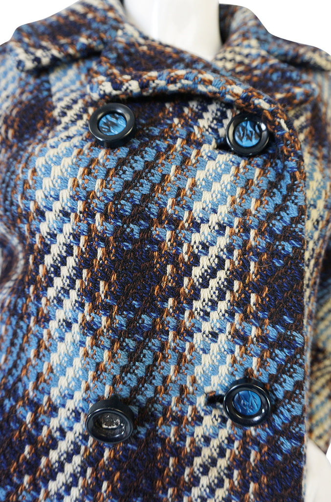 Oversized 1960s Blue Tones Wool Tweed Boucle Coat