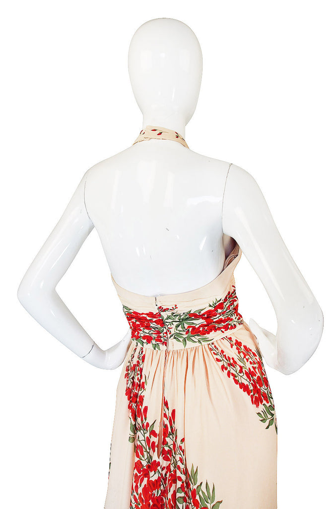 1970s Silk Jersey Alfred Bosand Backless Dress