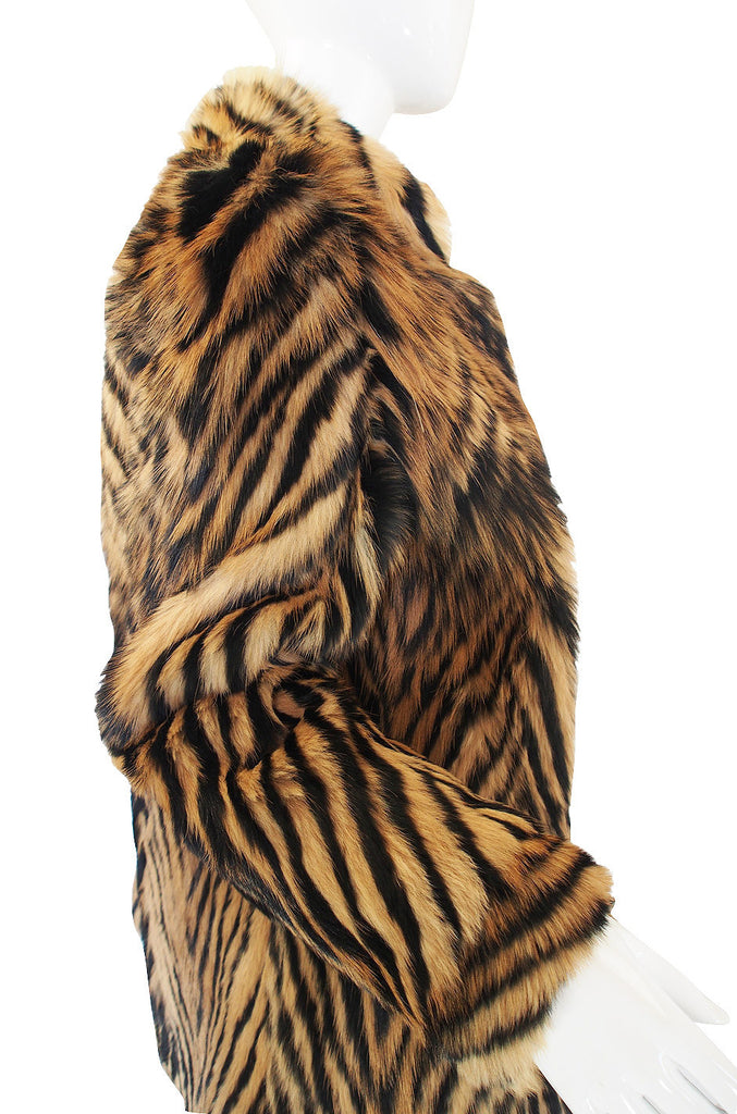 1970s Amazing Striped Goat Fur Jacket