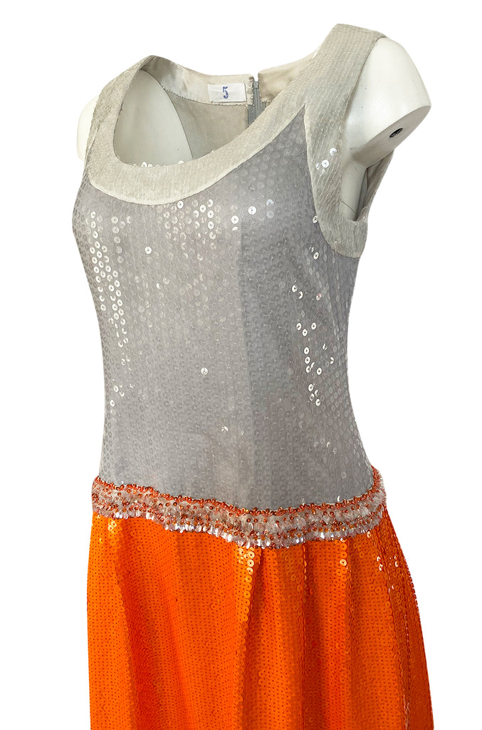 Early 1980s Andre Laug Alta Moda Numbered Couture Grey & Orange Sequin Dress