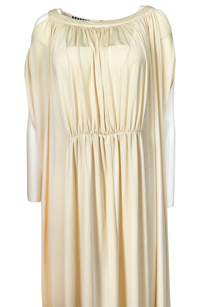 Rare 1970s Yuki Ivory Draped Jersey Open Shoulder Caftan Dress