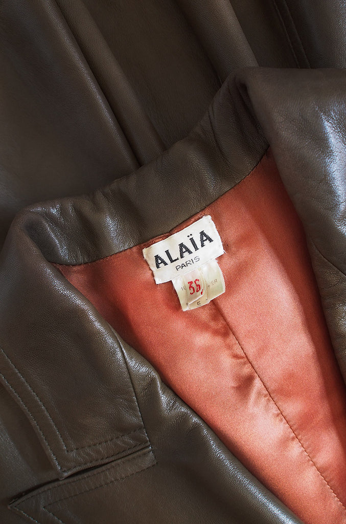 1980s Alaia Olive Leather Bustle Back Coat or Dress