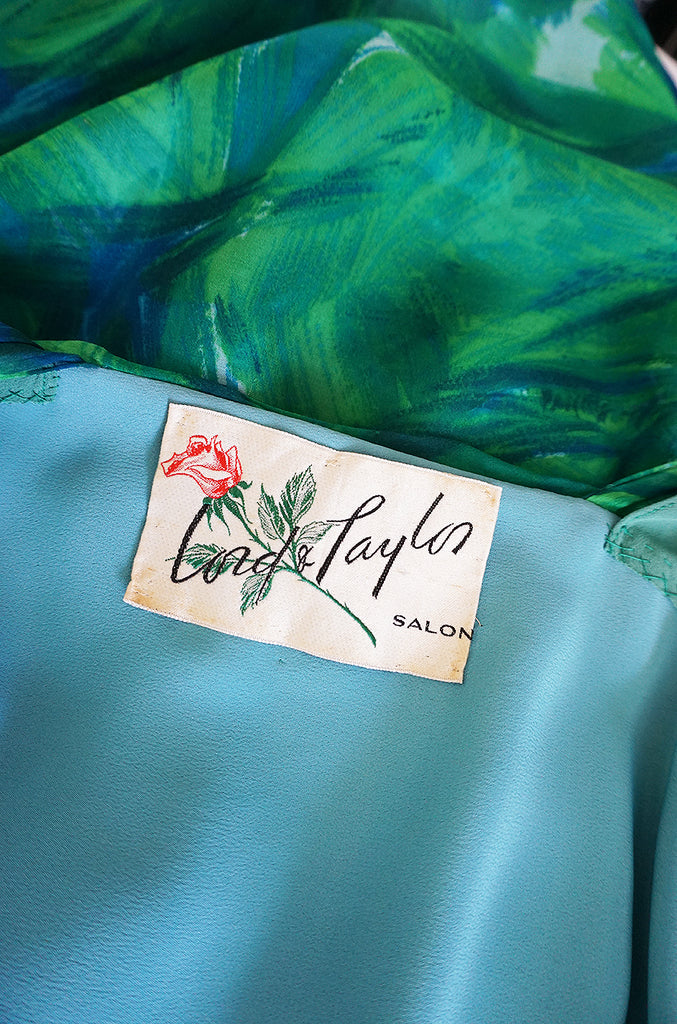 1950s Lord & Taylor Silk Chiffon Green Print Hawaiian Dress