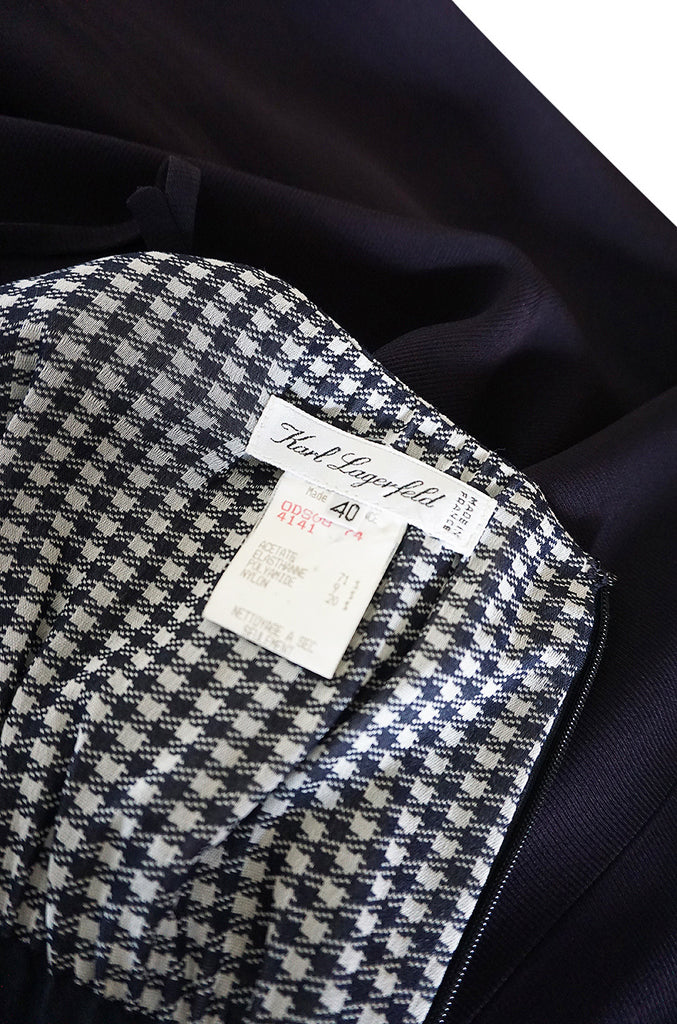 1990s Karl Lagerfeld Navy & Gingham Checked Dress