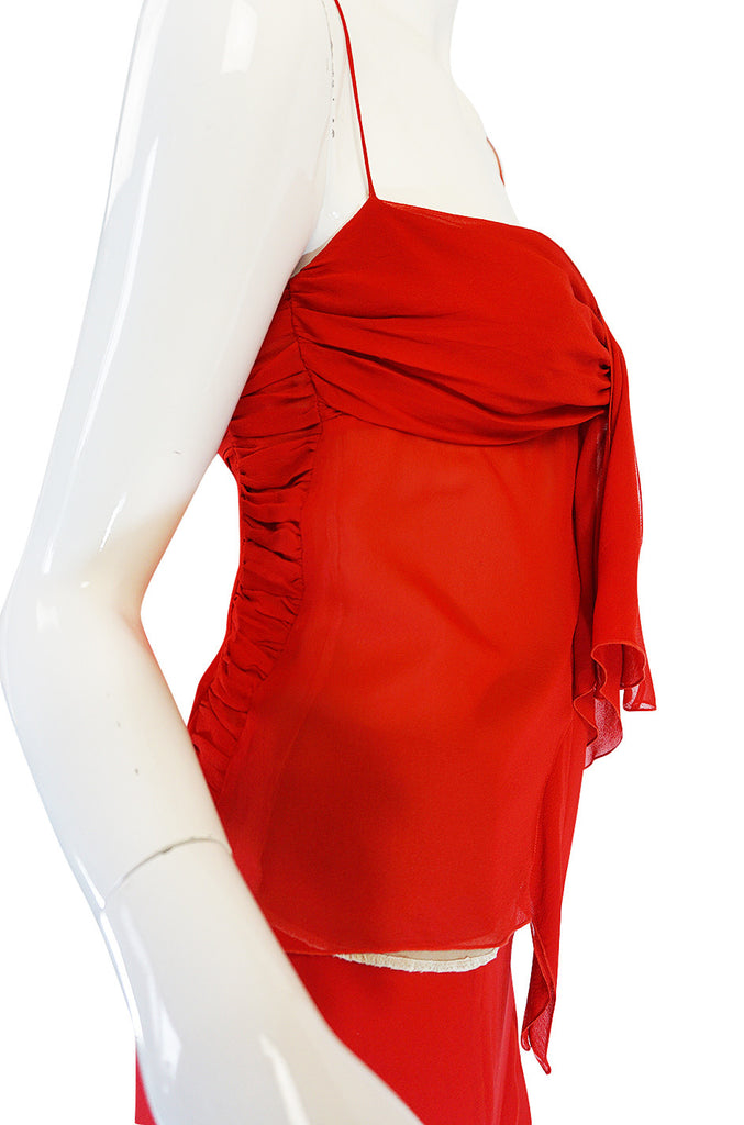 Exquisite 1990s Red Silk Chiffon Valentino Dress Set