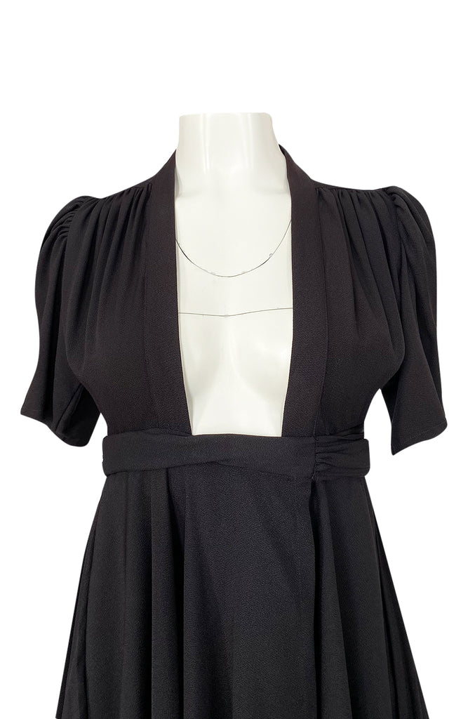 Iconic c.1969 Ossie Clark 'Bridget' Black Crepe Plunge Front Wrap Dress