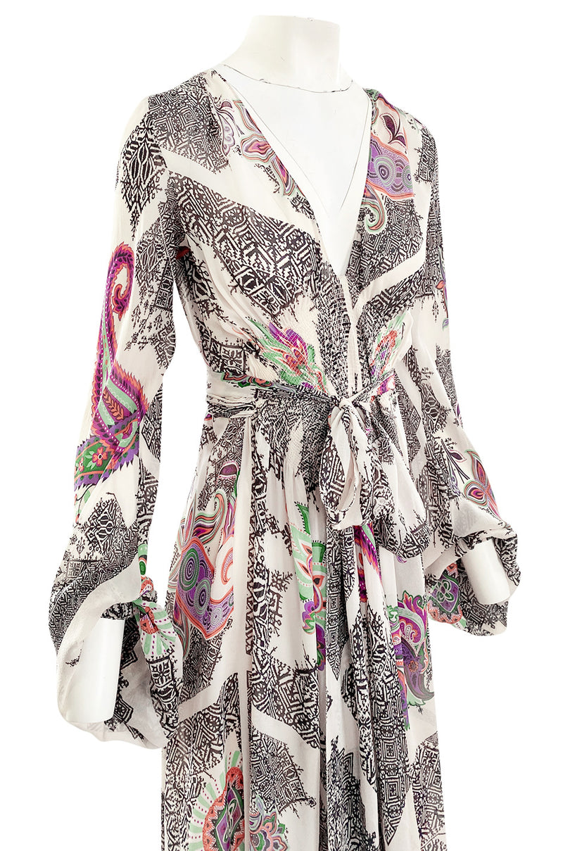 Spring 2005 Etro Runway Black & White Printed Flowing Silk Chiffon Dress w Huge Sleeves