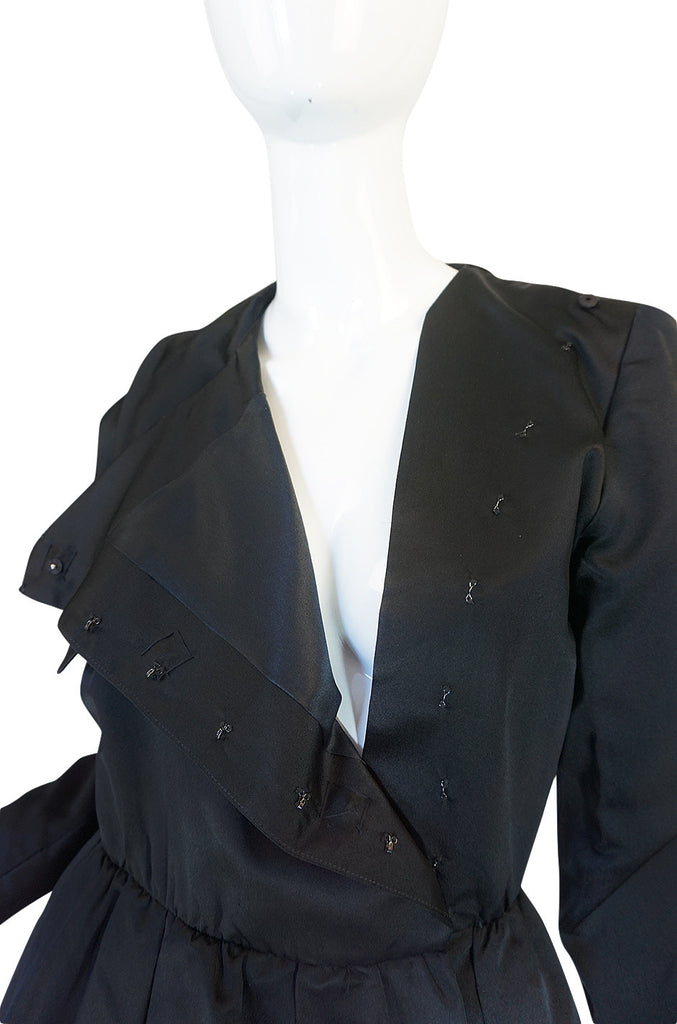 1960s Oscar de la Renta Black Silk Satin Cocktail Dress