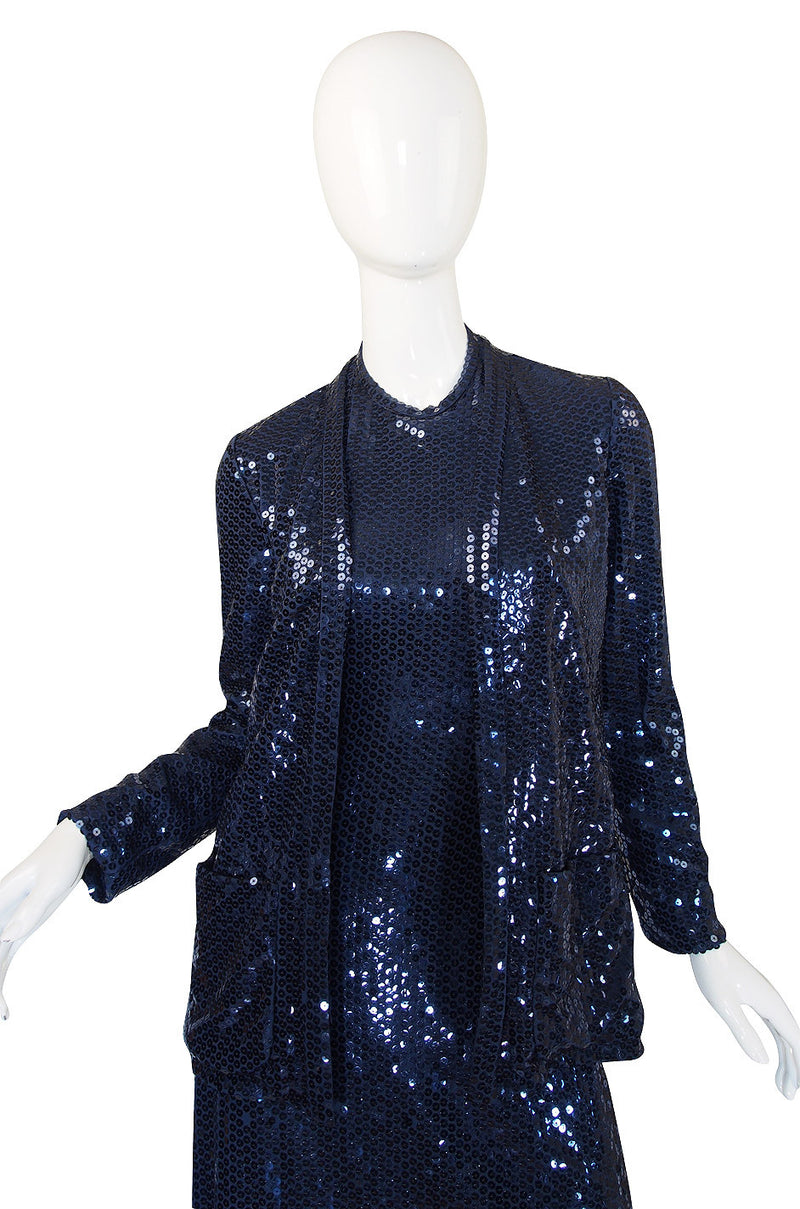 1970s Sequin Harold Levine Dress & Jacket