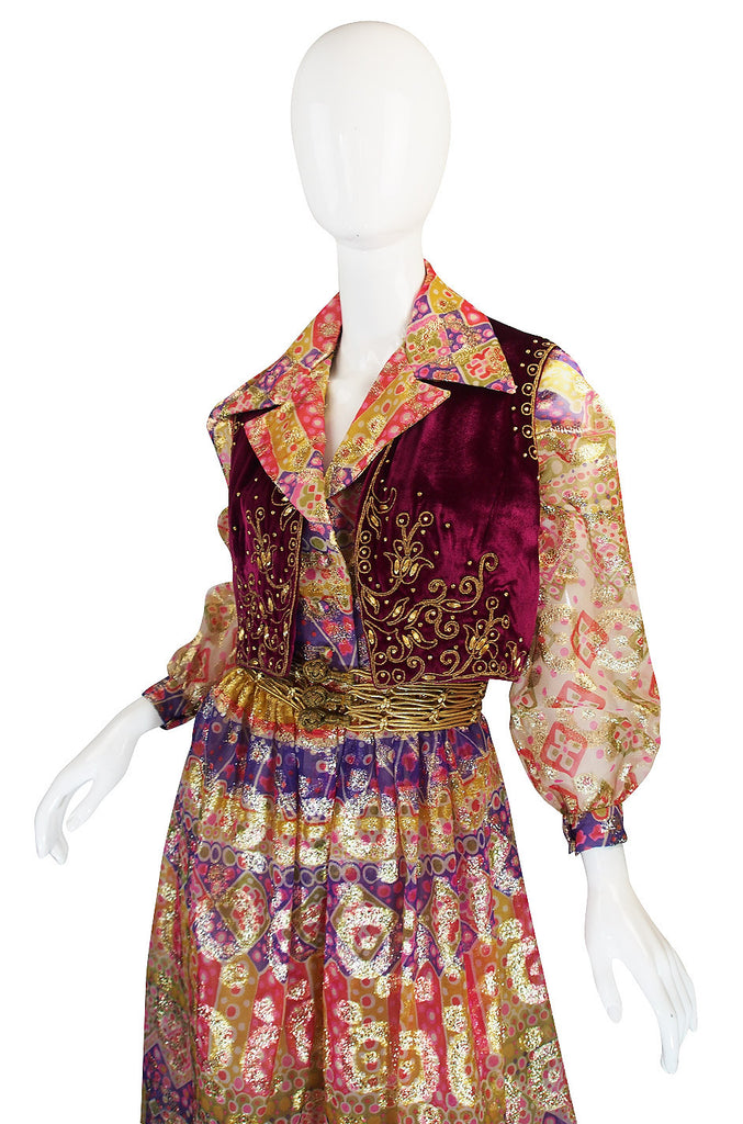 1969 Oscar de la Renta Gypsy Metallic Dress Set
