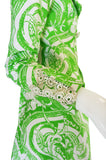 Rare 1960s Annacat Green & White Print Coat or Dress