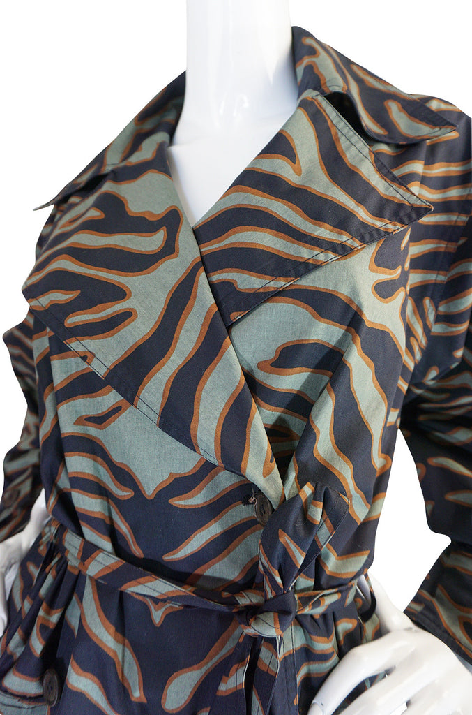 Rare 1984 Yves Saint Laurent Zebra Safari Trench Coat