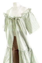 Spring 1999 Oscar De La Renta Pale Green Striped Silk Taffeta Billowing Over Dress & Pant Set