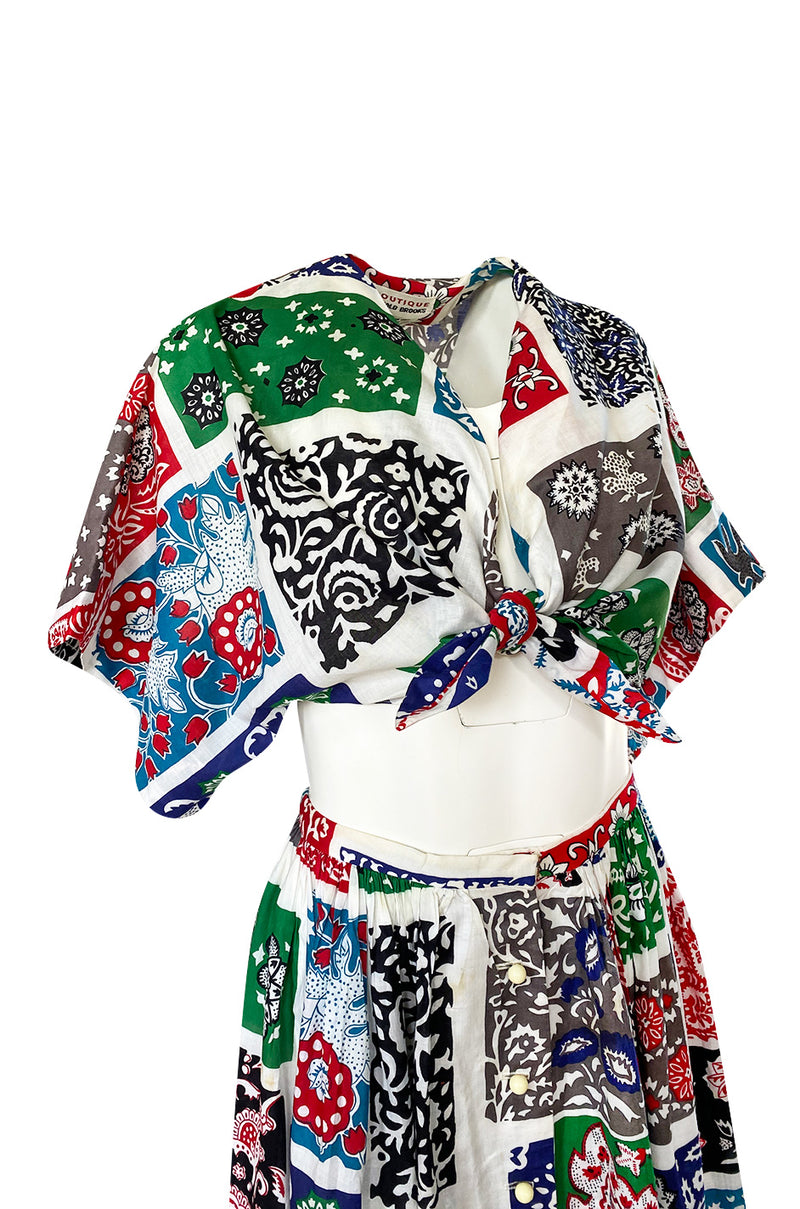 1970s Donald Brooks Printed Bandana Feel Skirt & Cropped Tie Top
