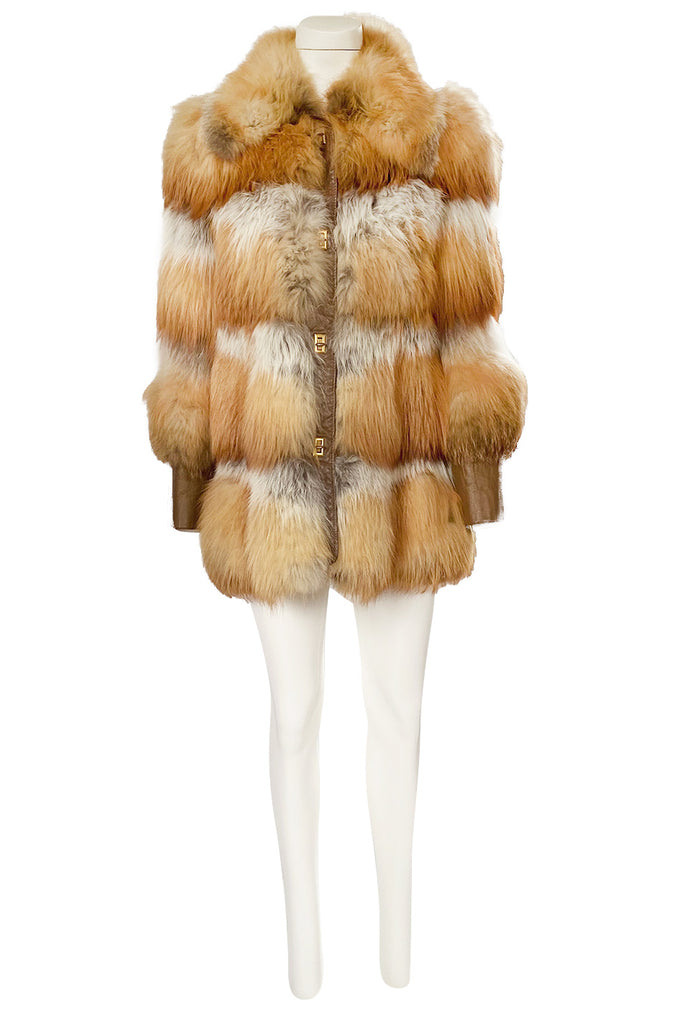 1970s Natural Red Fox Fur & Leather Coat w Brass Turnkey Closures