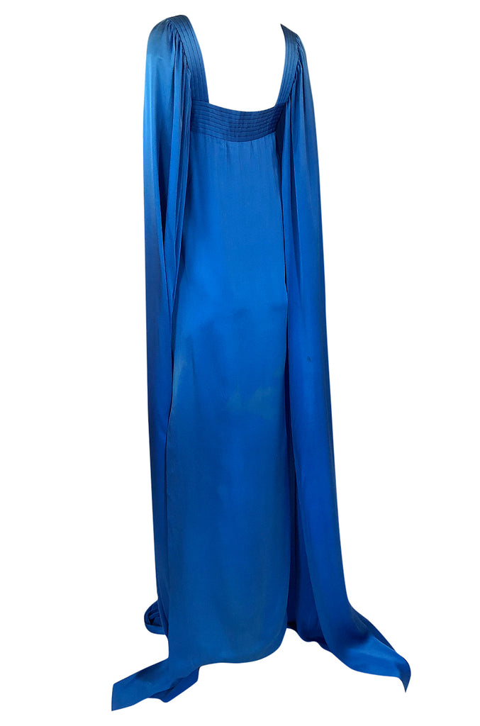 Fall 1978 Christian Dior Haute Couture Silk Satin Caped Sleeve Dress