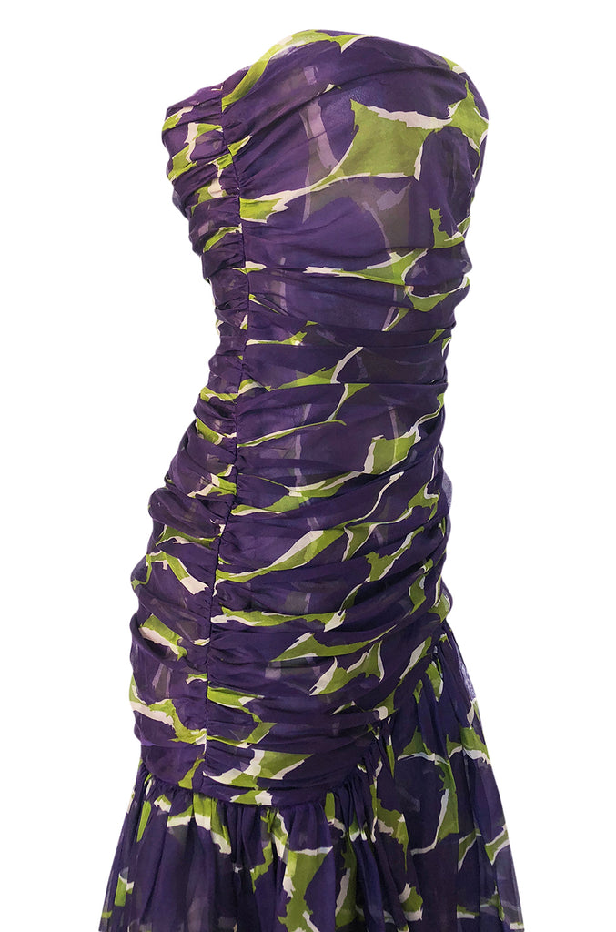 1983 Yves Saint Laurent Strapless Purple & Green Silk Voile Dress
