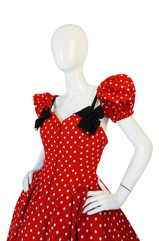 Extravagant 1980s Christian Lacroix Couture Dot & Bow Dress