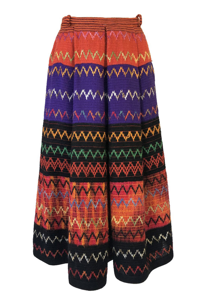 4da252763 1970s Lanvin Numbered Haute Couture Hand Woven Knit Embroidery Skirt