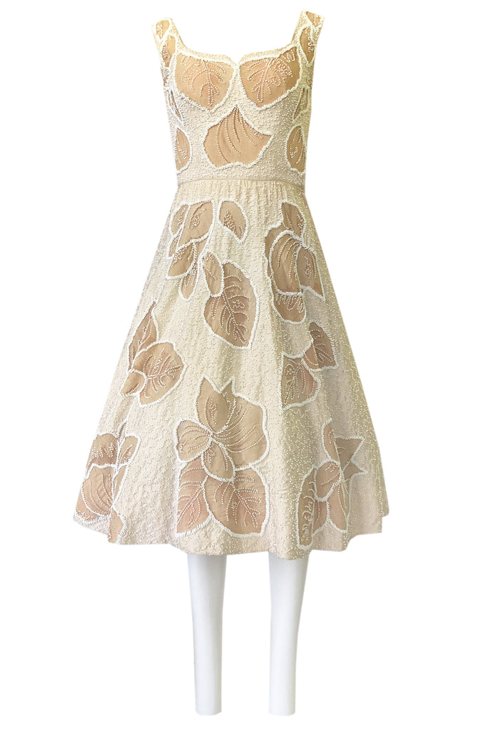Incredible 1950s Harvey Berin Couture Densely Beaded Ivory Silk Dress