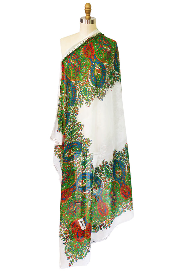 Huge 1970s Yves Saint Laurent Elaborate Print Cotton Scarf w Edging