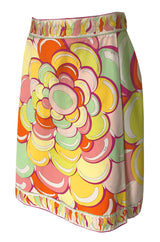 1960s Emilio Pucci Citrus Colored Bubble Printed Cotton Skirt