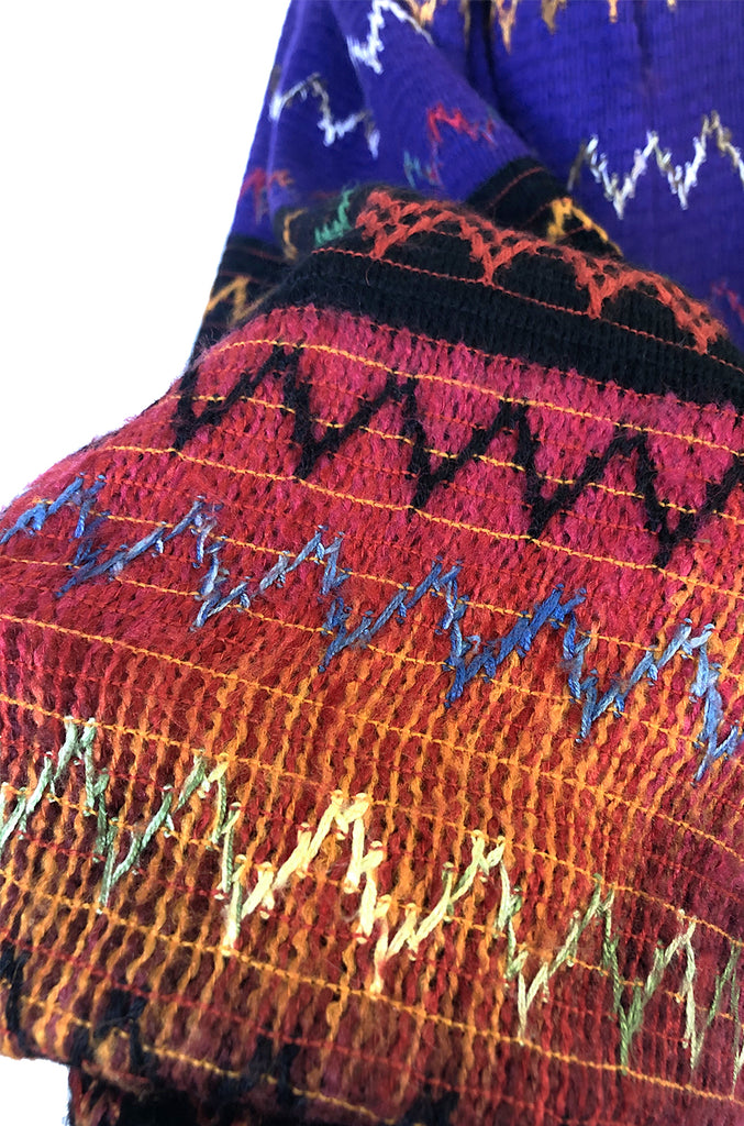 1970s Lanvin Numbered Haute Couture Hand Woven Knit Embroidery Skirt