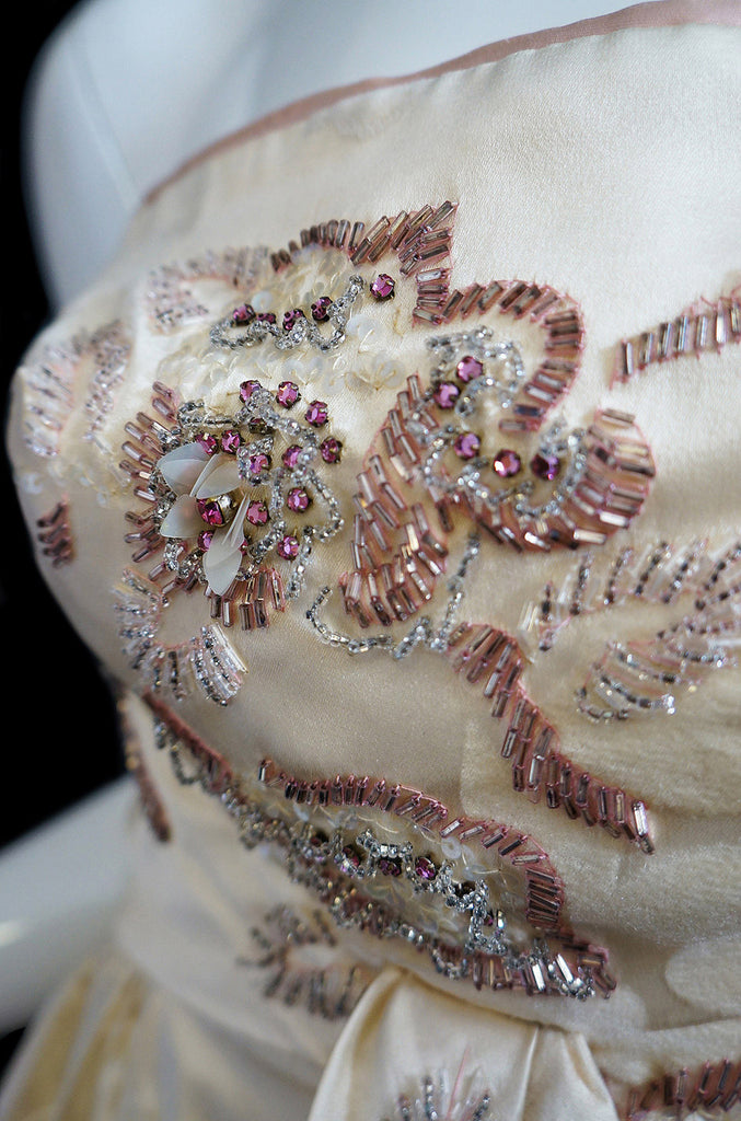 1950s Helena Barbieri Beaded Dress