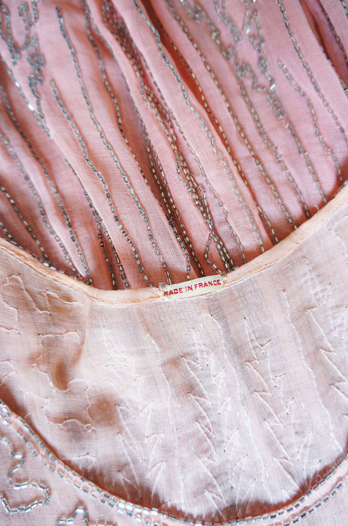 1920s Pale Pink & Silver Beaded Flapper