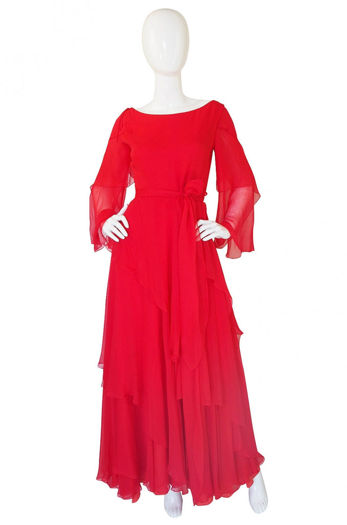 1970s Michael Novarese Tiered Red Silk Chiffon Dress