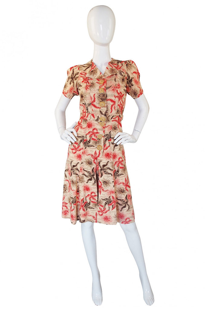 1940s Starfish Playsuit Dress with Shorts