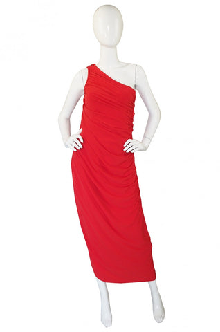1970s One Shoulder Red Jersey Dress