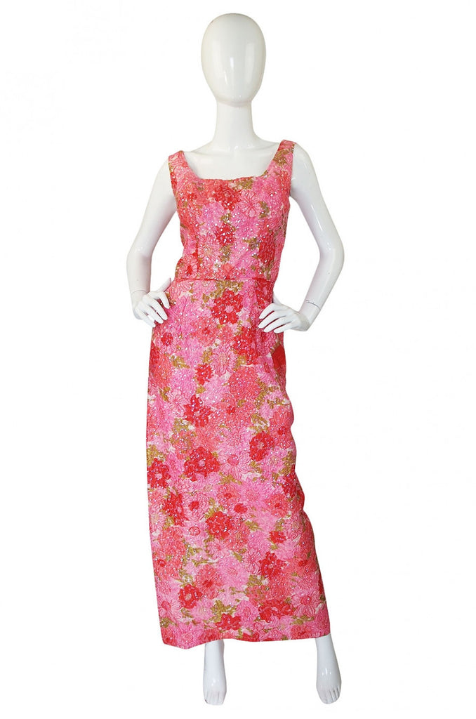 1960s Pink Sequin Evening Dress