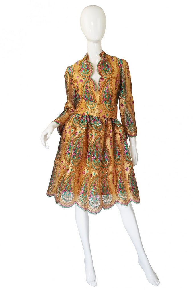 Documented 1968 Bill Blass Gold Dress